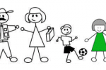 Stick Figure Cartoon of a Family