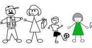 Stick Figure Cartoon of a Family