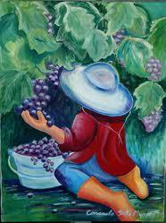 Girl Picking Grapes
