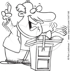 Cartoon image of a preacher