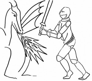 Sketch of a knight fighting a fire-breathing dragon