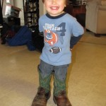 Picture of Grandson wearing boots