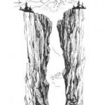 pencil sketch of deep rock crevice