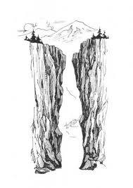 pencil sketch of deep rock crevice