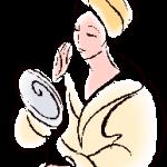 pencil sketch of woman looking in mirror