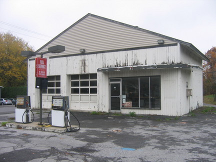 photograph of abandoned gas station