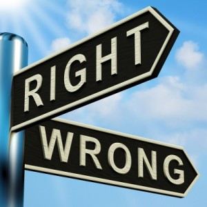 road sign with choices of right or wrong