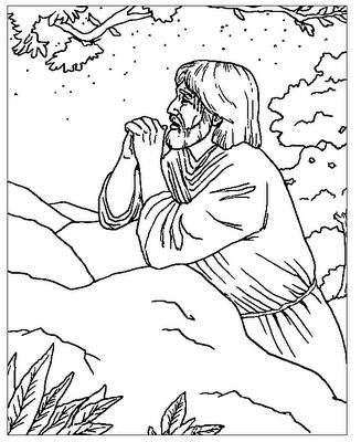 sketch of jesus praying in the garden of gethsemane