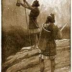 david and abishai holding king sauls spear and water jug