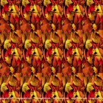 picture of autmn leaves with hidden stereogram of a three dimensional heart