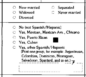 1990 census form cropped to display marital status