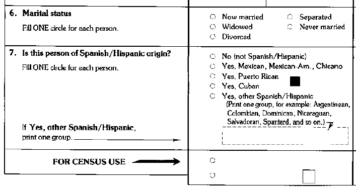 1990 census form marital status section