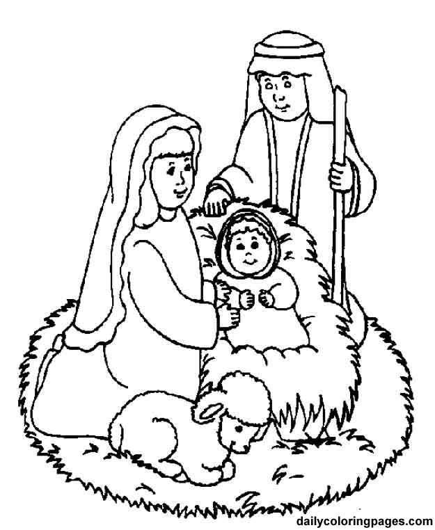 Line Art Nativity : Born of a virgin part redeemed