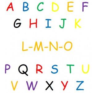 alphabet in bright colors