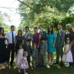 family picture taken at son's wedding